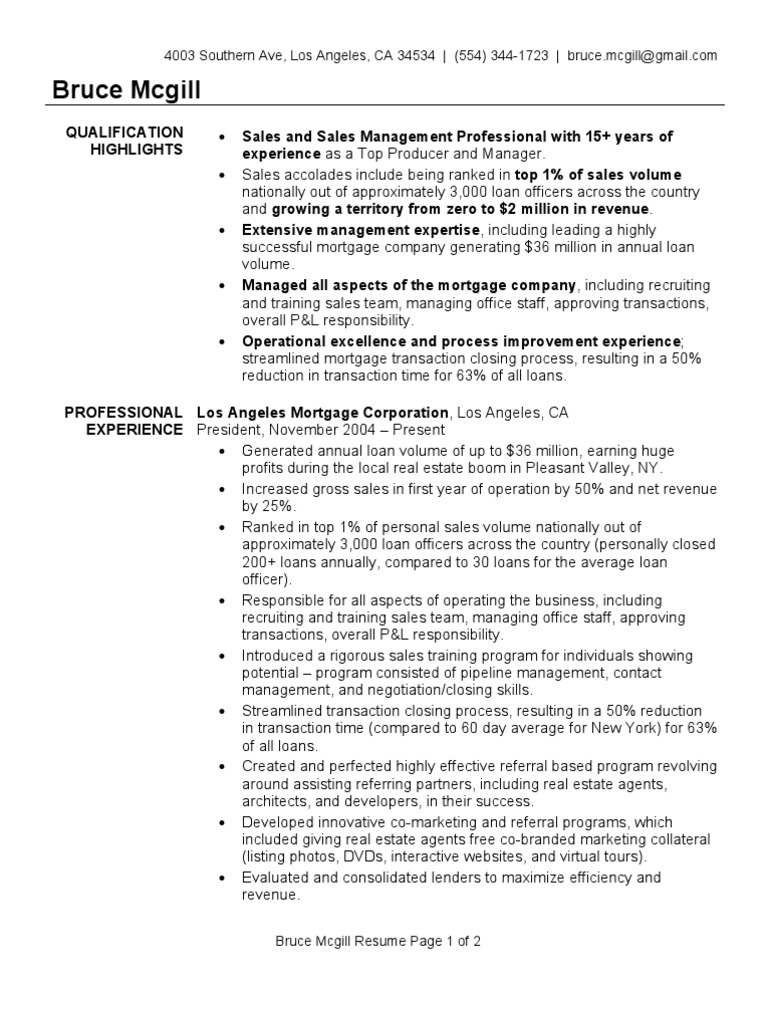 mortgage broker resume sample