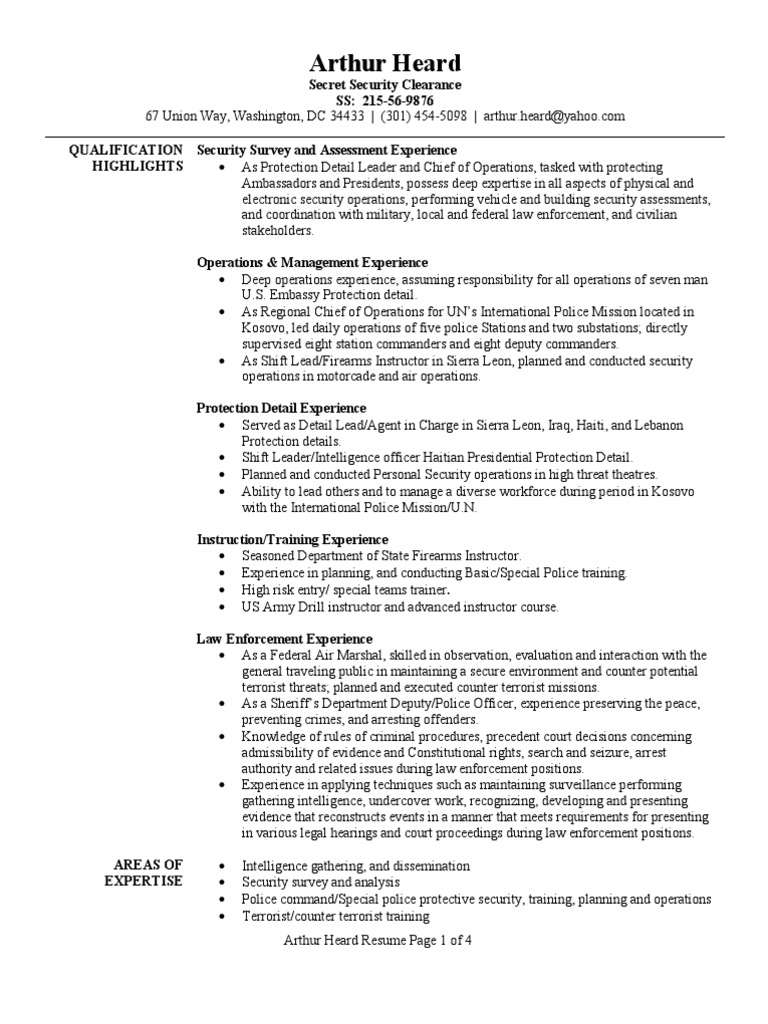 Personal Protection Detail Resume Sample | Infantry | Drill Instructor