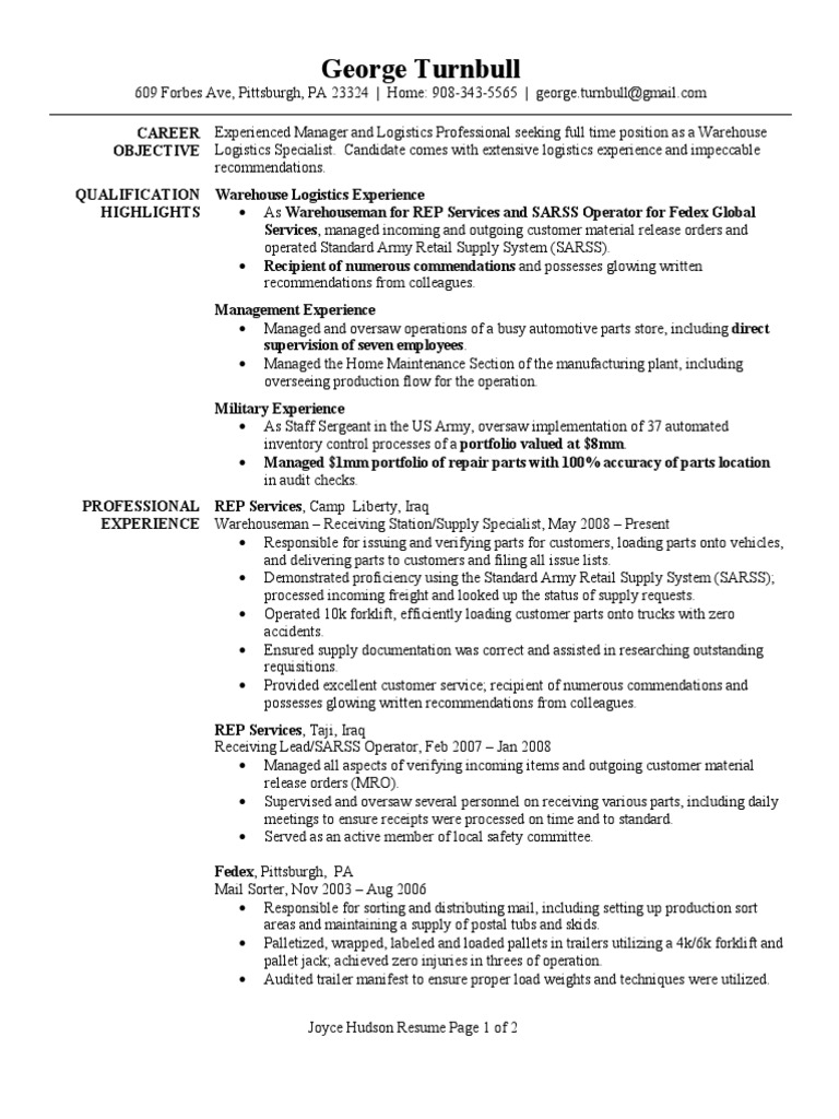 warehouse logistics specialist resume sample