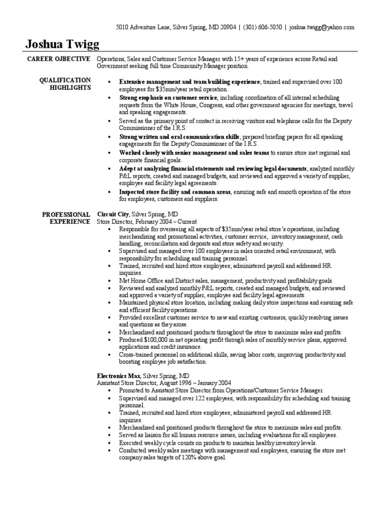 store manager resume sample