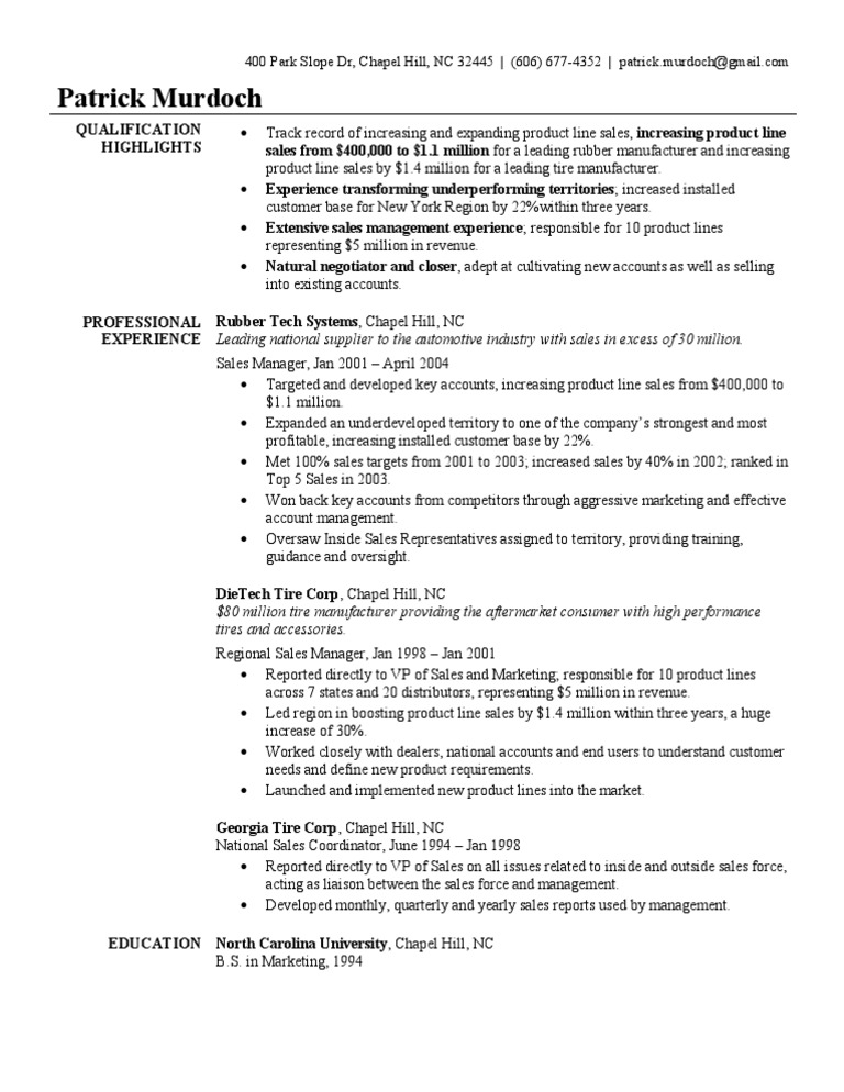Manager Resume Sample