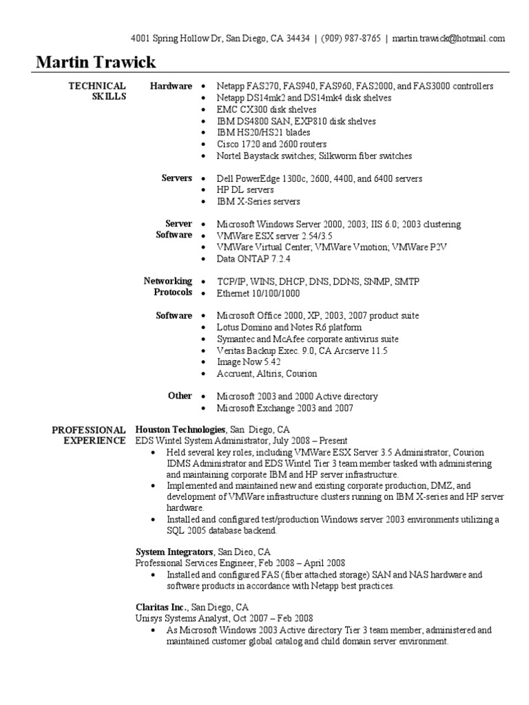 system administrator resume sample