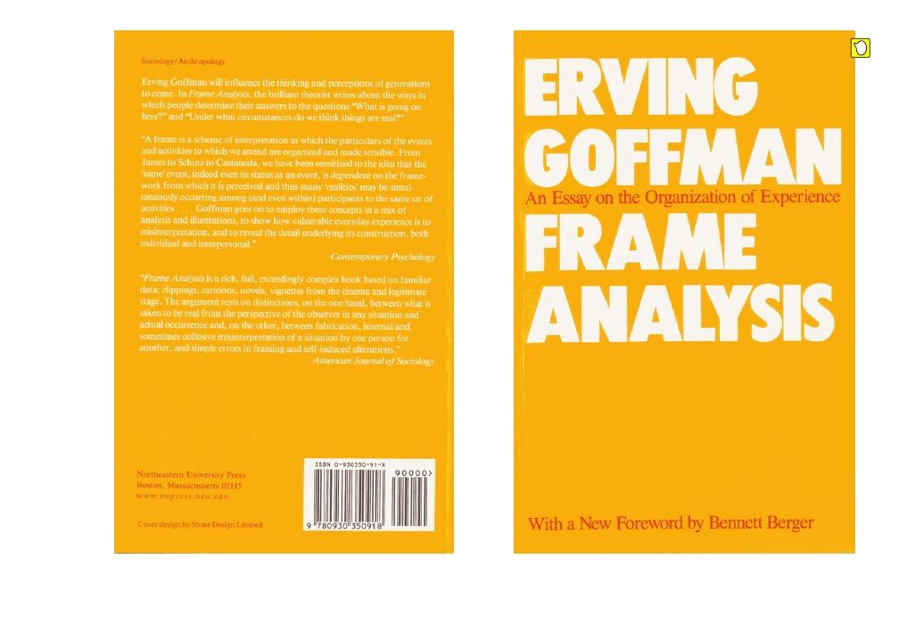 Schön Erving Goffman Frame Analyse Pdf Bilder - Benutzerdefinierte ...