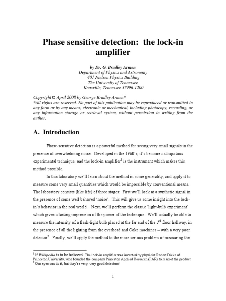 Lock In Amplifier Experiment Amplitude Low Pass Filter Amplifiers And Lockin Simplified Schematic All