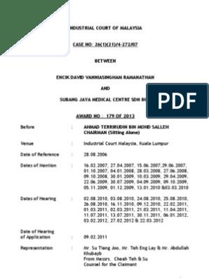 CASE NO: 26(1)(21)/4-272/07 BETWEEN ENCIK DAVID VANNIASINGHAM