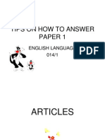 TIPS TO ANSWER PAPER 014/1