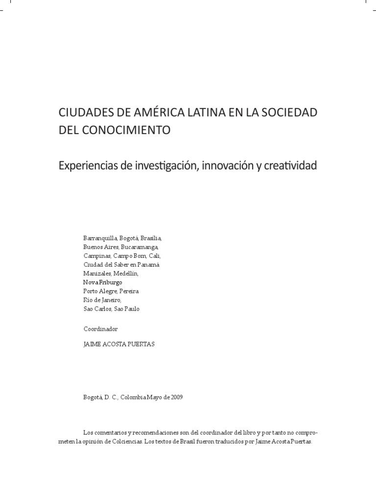 CIUDADES DE AMÉRICA LATINA EN LA SOCIEDAD DEL CONOCIMIENTO. Libro ...