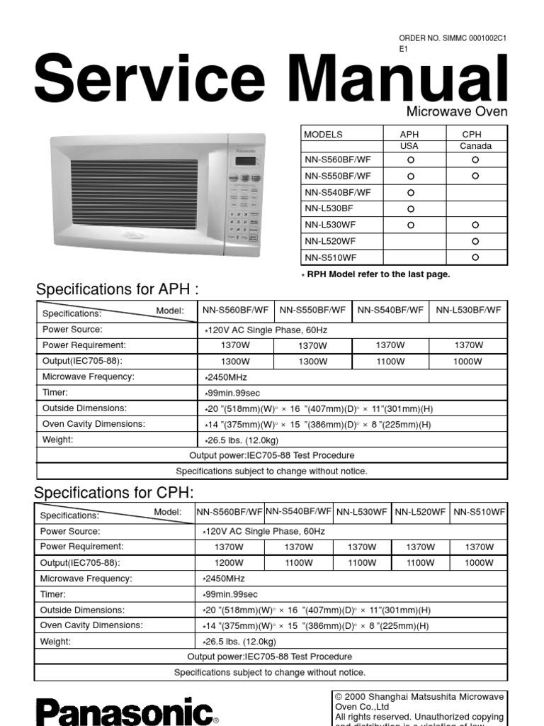 repair manual panasonic nn l530bf oven