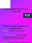 Simple Programming for the TI calculator