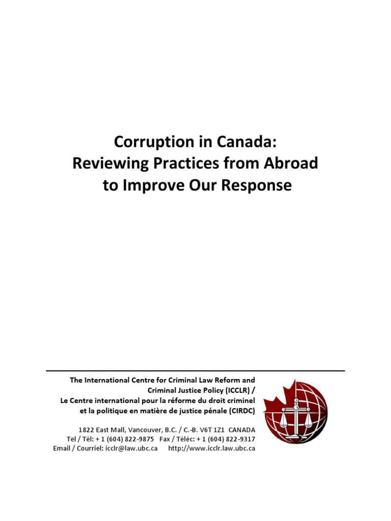 Corruption In Canada Reviewing Practices From Abroad To Improve Our