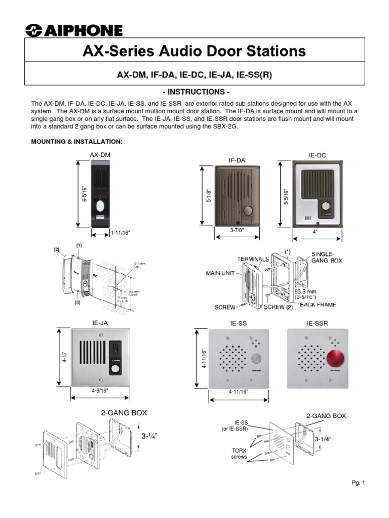 Aiphone Wiring Diagram Gf Model Ax Audio Door Stations Instr Westside Wholesale Call 1 877 998 9378 Equipment