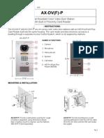 Aiphone Model AX-DV(F)-P Instr (HID) 1010- Westside Wholesale - Call 1-877-998-9378
