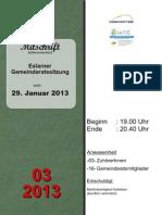 Eslarner Gemeinderatssitzungen, 29.01.2013