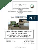 Problemes Environnementaux et Gestion Durable des Infrastructures Routieres au Sein du Port de Cotonou