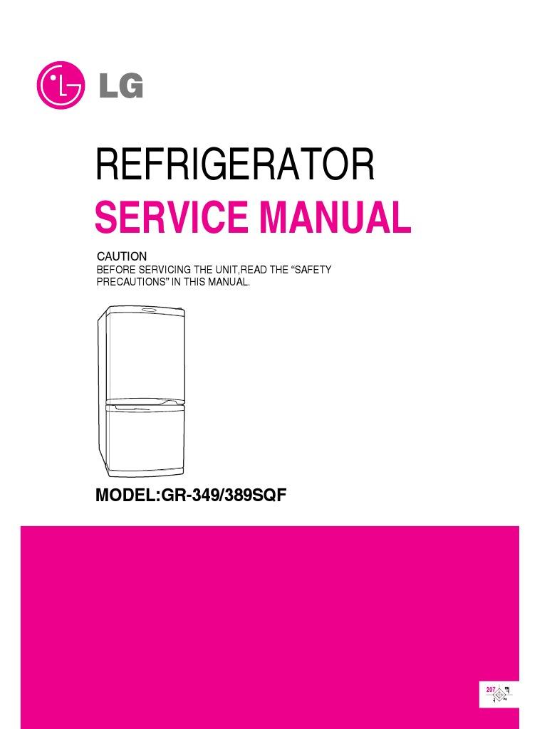 servicemanuals lg fridge gr349sqf gr-349sqf service manual | refrigerator |  hvac