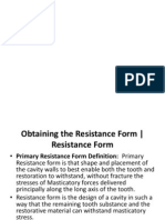 resistance form- restorative dentistry