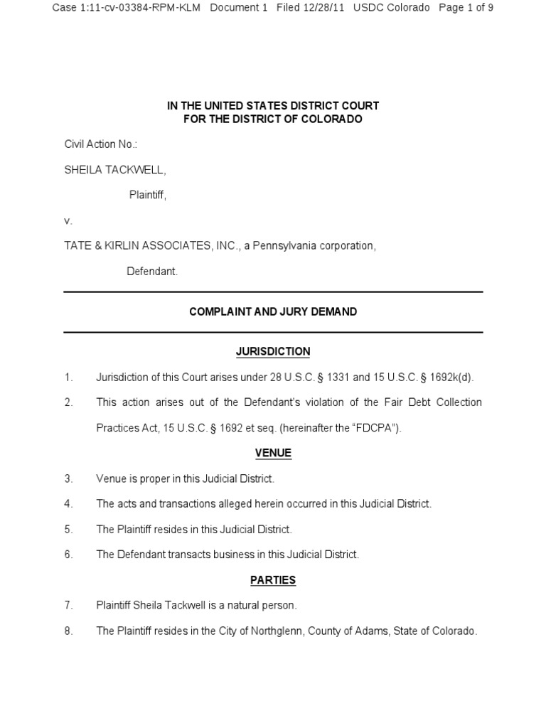 tackwell v tate kirlin associates inc fdpca debt collector