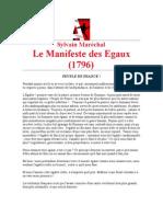 Le Manifeste Des Egaux 1796sylvain Marechal