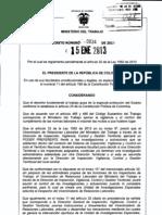 Decreto 34 Del 15 de Enero de 2013 Regula La Ley 1562