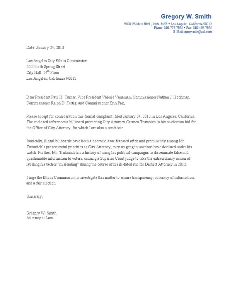 Los Angeles City Ethics Commission Complaint Carmen