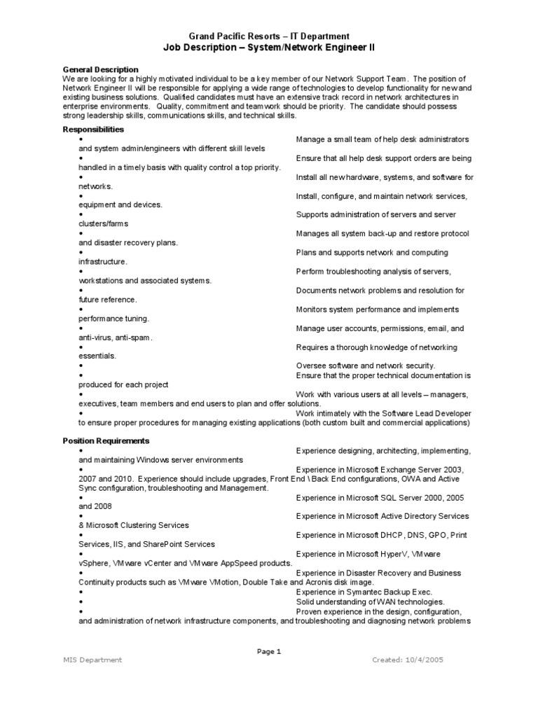 Network Engineer Job Description | Help Desk | Computer Network