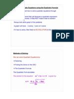 The Quadratic Formuls