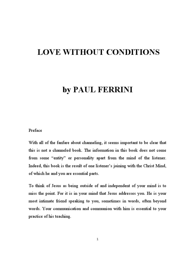 love without conditions book