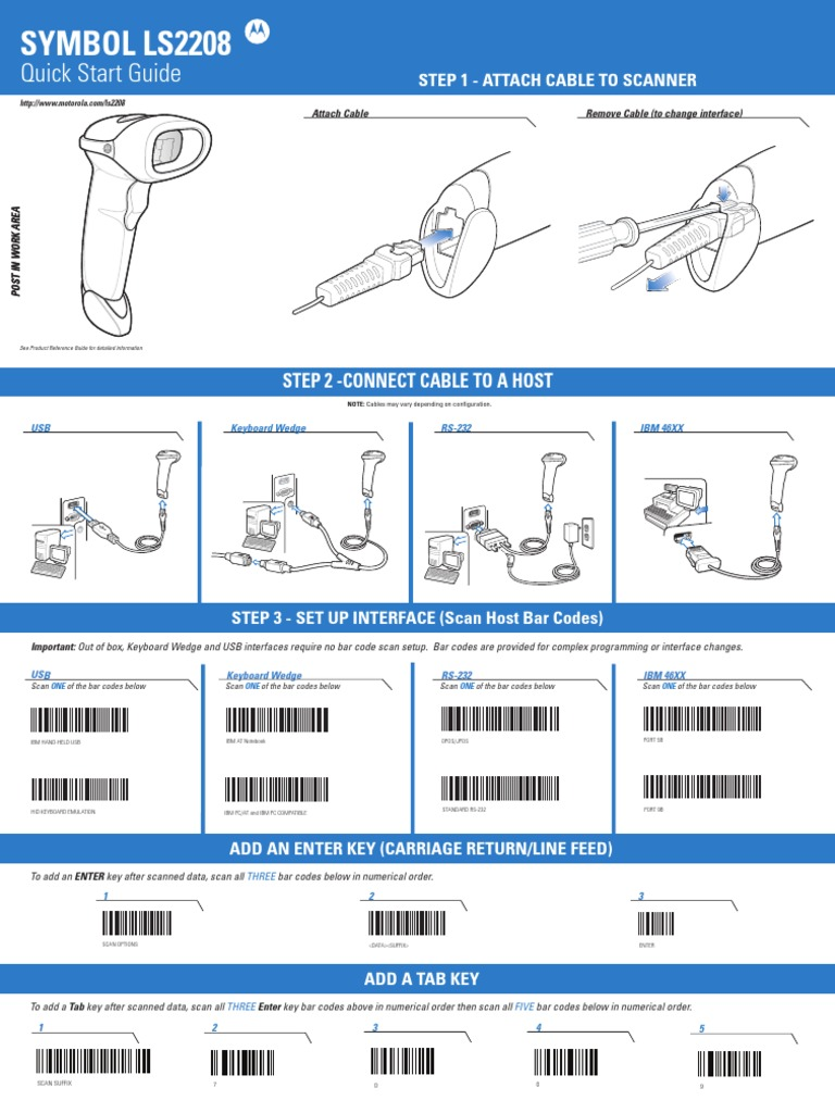 Symbol Ls2208 Quick Start Guide Barcode Electromagnetic