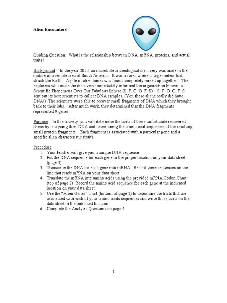 worksheet Alien Encounters Worksheet alien encounters translation biology gene