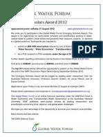 Global Water Forum Emerging Scholars Award Flyer