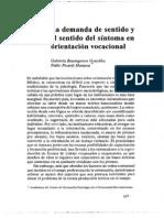 Baumgasten Gonzalez, G & Picardi Marassa, P - La demanda de sentido y el sentido del síntoma en Orientación Vocacional
