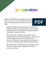 Sophia de Mello Breyner Andresen Nasceu Na Cidade Do Porto