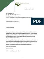 Ofício eletrônico - BDLight - informação ARISP - SJ