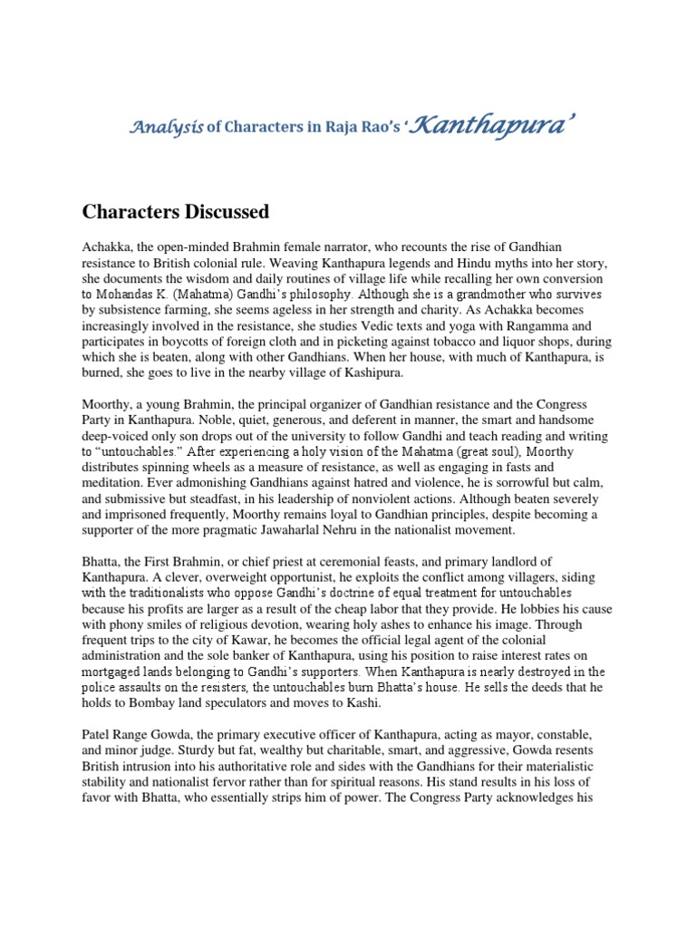 """summary of the novel kanthapura by Cite this article: dr r prabhakar, """"gandhi's ideology-raja rao-moorthy in kanthapura"""" international journal of research by reading the novel kanthapura."""