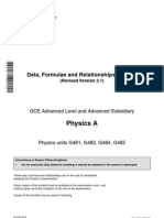 OCR GCE G481-G486 Physics Data Sheets