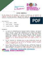 Ayuda Memoria de Seguridad Aliemtaria Nutriciopnal Informe Del 27 Dic 2012 Al 11 de Ene 2013 San Silvetsre,San Sebastian Obraje Sur. Comussan