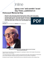 Rupert Murdoch Apologises Over 'Anti-semitic' Israel Cartoon in Sunday Times, Published on Holocaust Memorial Day _ Mail Online