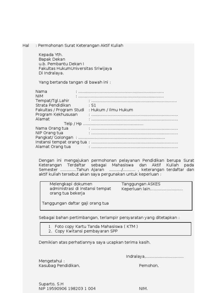 Contoh Format Surat Keterangan Aktif Kuliah