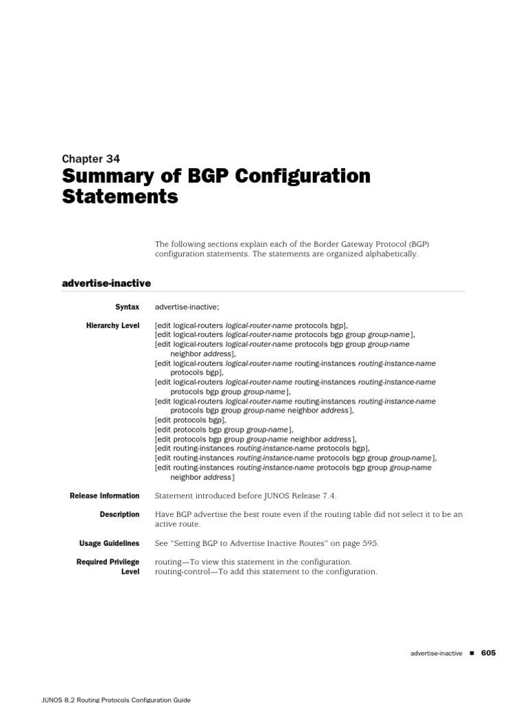 Juniper-BGP conf | Routing | I Pv6