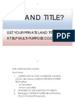 Private Land Titling at BLP COOP