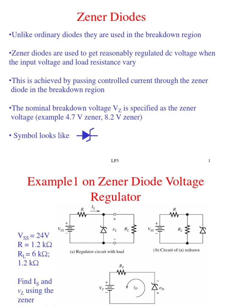 Zener Diodes Diode Pn Junction Circuit With