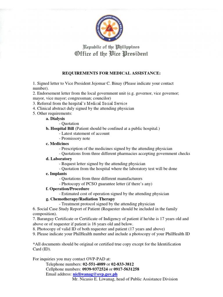 Letter for medical assistance medical assistance required requirements for ovp medical assistance altavistaventures Choice Image