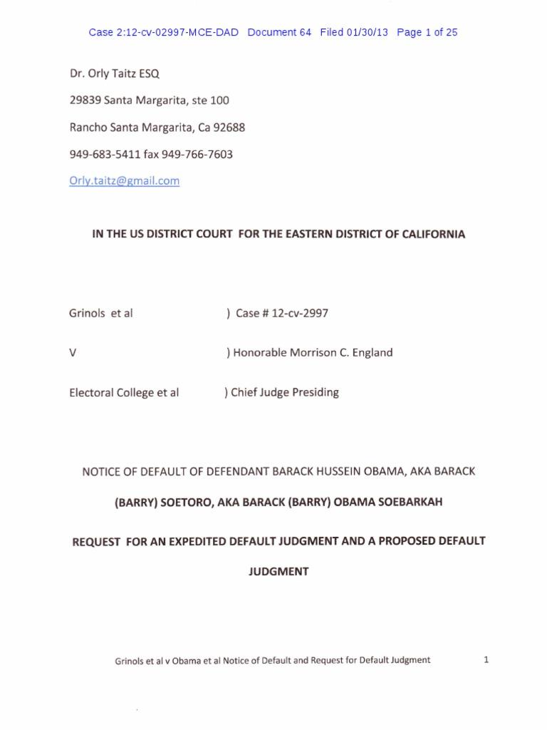 Notice Of Default Of Defendant Barack Obama