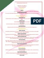 Bombay Brasserie Valentines Day Menu