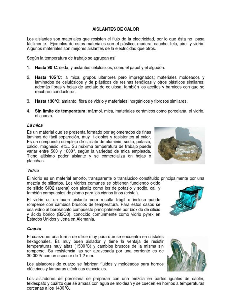 Excelente Materiales Aislantes Del Calor Composición - Ideas de ...