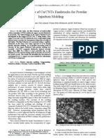 Flow Behavior of Cu/CNTs Feedstocks for Powder Injection Molding