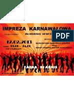 plakat impreza karnawałowa MRGK