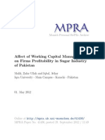 Affect of working capital management on sugar industry of Pakistan