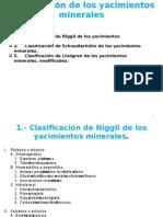 Clasificación  yacimientos minerales
