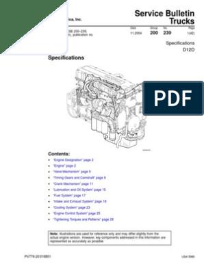 Volvo D12D Especificacion | Piston | Cylinder (Engine) | Volvo D16 Engine Oil Diagram |  | Scribd